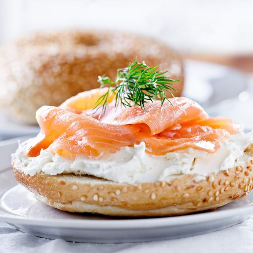 Smoked salmon and cheese on bagel